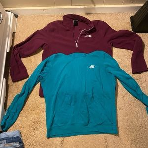 North face and nike hoodies